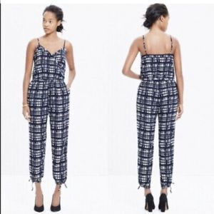 Madewell Faux-wrap Cami Jumpsuit Brushstroke Plaid